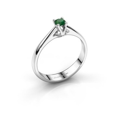 Foto van Verlovingsring Janna 1 585 witgoud smaragd 3.4 mm