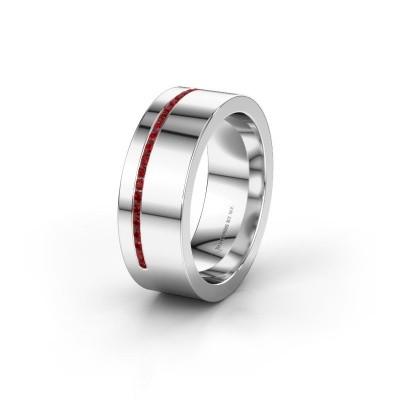 Trouwring WH0143L17BP 925 zilver robijn ±7x2 mm