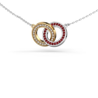 Picture of Necklace Circles 2 585 gold ruby 1 mm