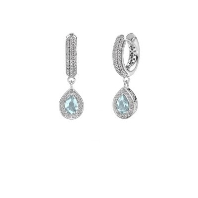 Picture of Drop earrings Barbar 2 375 white gold aquamarine 6x4 mm