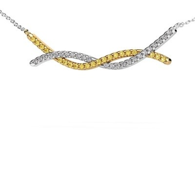 Picture of Bar necklace Breanne 585 gold yellow sapphire 1.2 mm