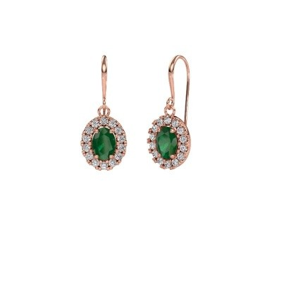 Picture of Drop earrings Jorinda 1 375 rose gold emerald 7x5 mm