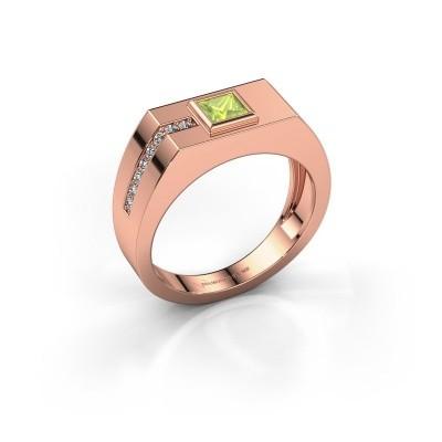 Foto van Heren ring Robertus 1 375 rosé goud peridoot 4 mm