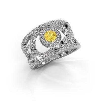 Foto van Ring Regina 925 zilver gele saffier 4.2 mm