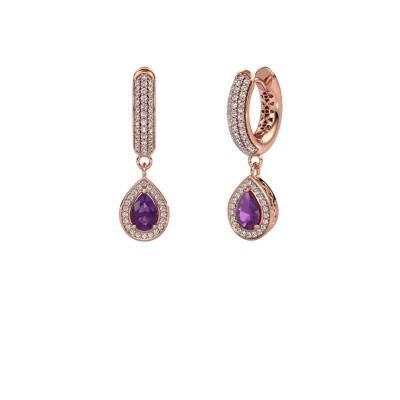 Picture of Drop earrings Barbar 2 375 rose gold amethyst 6x4 mm
