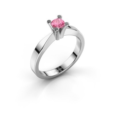 Foto van Verlovingsring Ichelle 1 585 witgoud roze saffier 4.2 mm