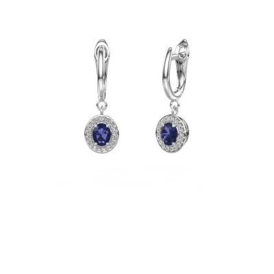 Picture of Drop earrings Nakita 950 platinum sapphire 5x4 mm