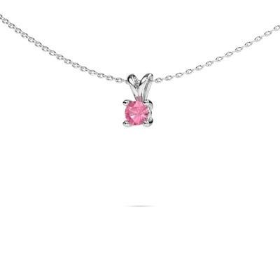 Picture of Necklace Sam round 950 platinum pink sapphire 4.2 mm