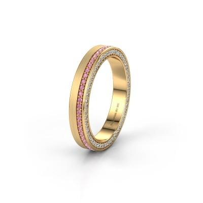 Trouwring WH2214L15BM 375 goud roze saffier 1 mm ±5x2 mm