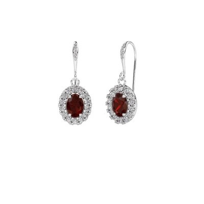 Picture of Drop earrings Jorinda 2 950 platinum garnet 7x5 mm