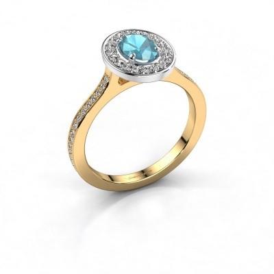 Foto van Ring Madelon 2 585 goud blauw topaas 7x5 mm