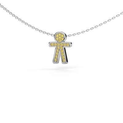 Picture of Pendant Boy 925 silver yellow sapphire 1 mm