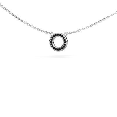 Foto van Hanger Round 2 585 witgoud zwarte diamant 0.06 crt