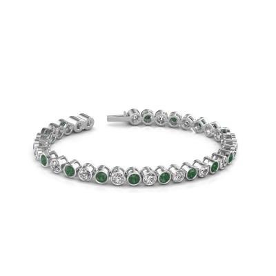 Foto van Tennisarmband Allegra 585 witgoud smaragd 4 mm