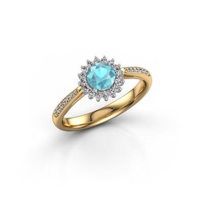 Foto van Verlovingsring Mariska 2 585 goud blauw topaas 5 mm
