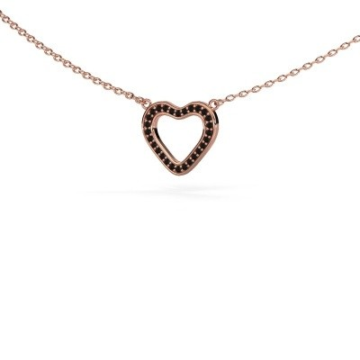 Picture of Pendant Heart 3 375 rose gold black diamond 0.084 crt