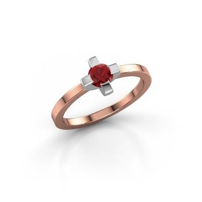 Foto van Ring Therese 585 rosé goud robijn 4.2 mm