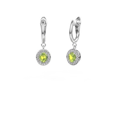 Picture of Drop earrings Nakita 585 white gold peridot 5x4 mm