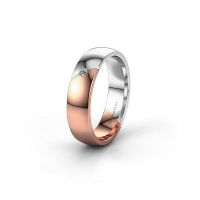 Trouwring WH1201L25AP 585 rosé goud diamant ±5x1.7 mm