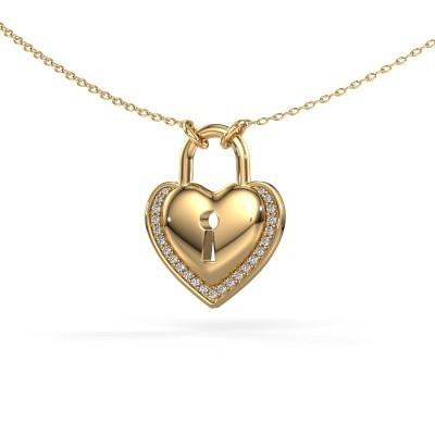 Bild von Halskette Heartlock 585 Gold Zirkonia 1 mm