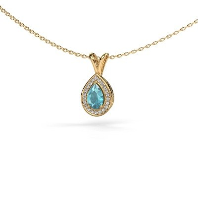 Picture of Necklace Ginger 585 gold blue topaz 6x4 mm
