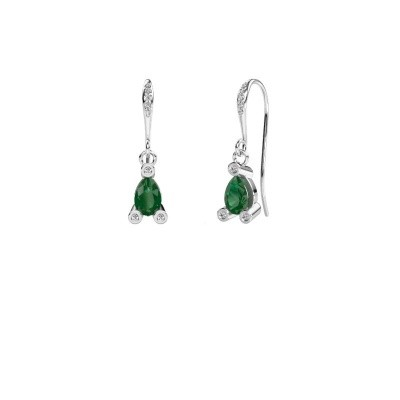 Picture of Drop earrings Bunny 2 375 white gold emerald 7x5 mm
