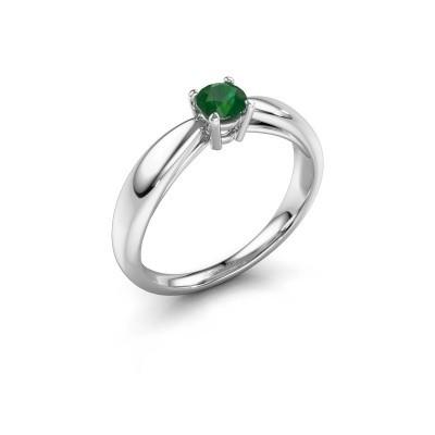 Foto van Verlovingsring Nichole 585 witgoud smaragd 4.2 mm