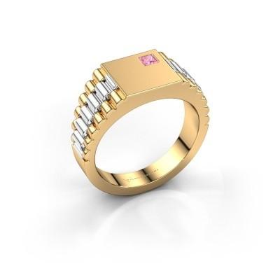 Foto van Rolex stijl ring Pelle 585 goud roze saffier 3 mm