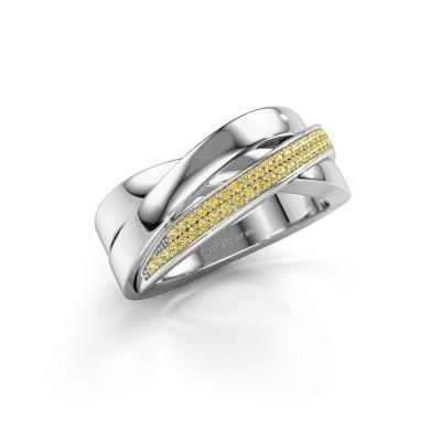 Foto van Ring Katherina 925 zilver gele saffier 1 mm