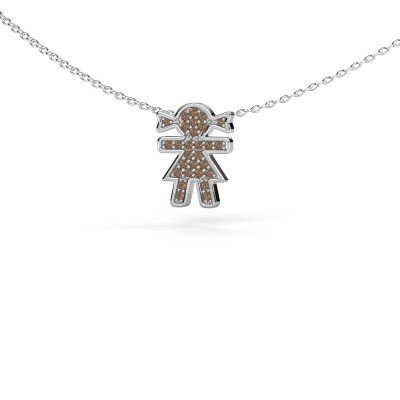 Picture of Necklace Girl 585 white gold brown diamond 0.135 crt