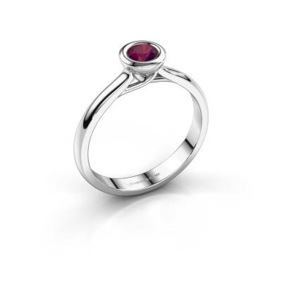Foto van Verlovings ring Kaylee 585 witgoud rhodoliet 4 mm