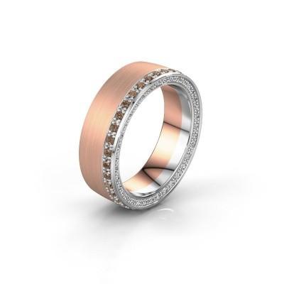 Trouwring WH2224L26C8 585 rosé goud bruine diamant 0.54 crt ±6x2.2 mm