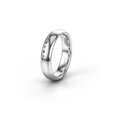 Vriendschapsring WH2144L34A 950 platina bruine diamant ±4x1.7 mm