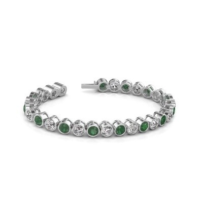 Foto van Tennisarmband Mandi 585 witgoud smaragd 5 mm
