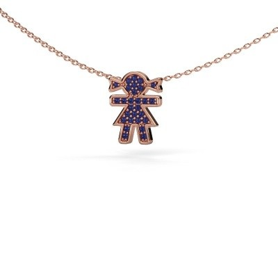 Picture of Necklace Girl 375 rose gold sapphire 1 mm
