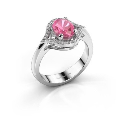 Picture of Ring Mendy 585 white gold pink sapphire 8x6 mm
