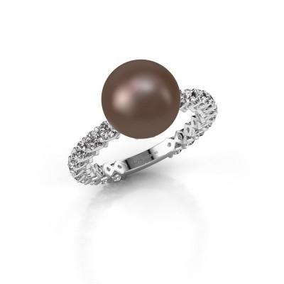Foto van Ring Nele 925 zilver bruine parel 9 mm