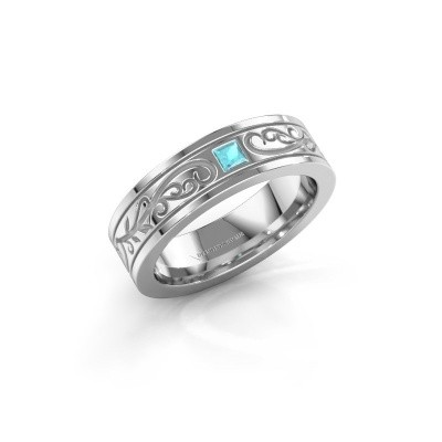 Foto van Heren ring Matijs 585 witgoud blauw topaas 3 mm