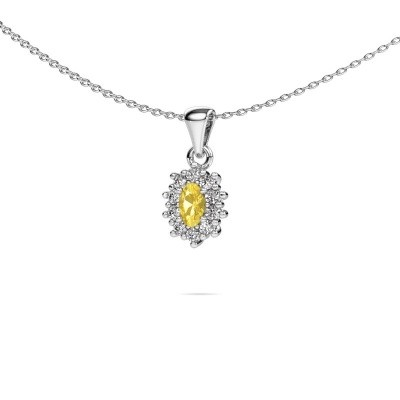 Picture of Necklace Leesa 950 platinum yellow sapphire 6x4 mm