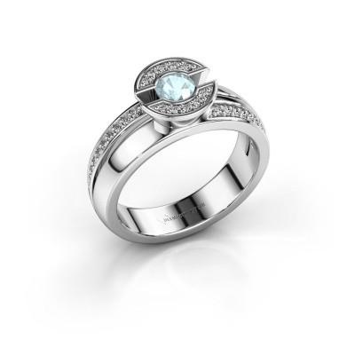 Foto van Ring Jeanet 2 925 zilver aquamarijn 4 mm