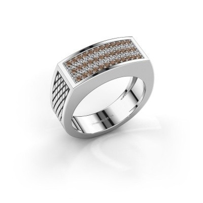 Foto van Heren ring Erwin 950 platina bruine diamant 0.435 crt