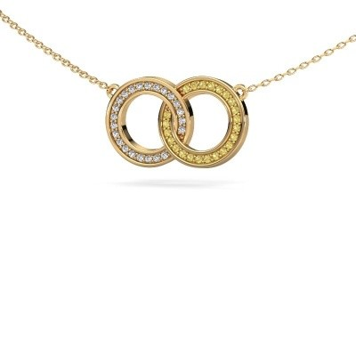 Picture of Necklace Circles 1 585 gold yellow sapphire 1 mm