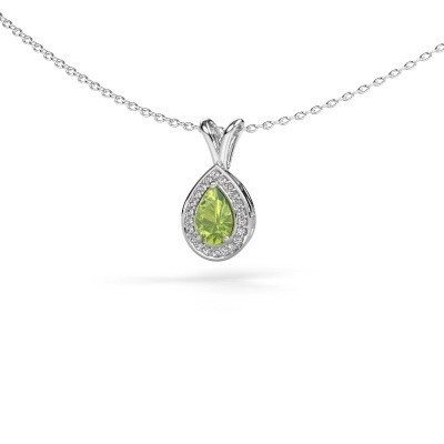 Picture of Necklace Ginger 585 white gold peridot 6x4 mm
