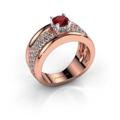 Foto van Ring Alicia 585 rosé goud robijn 5 mm