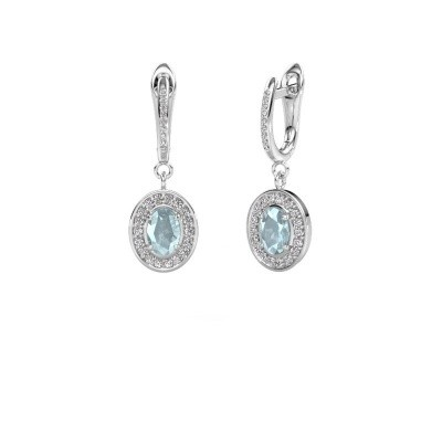 Picture of Drop earrings Layne 2 925 silver aquamarine 7x5 mm