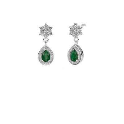 Picture of Drop earrings Era 950 platinum emerald 6x4 mm