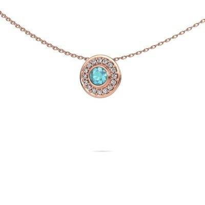 Picture of Necklace Gretta 375 rose gold blue topaz 4 mm