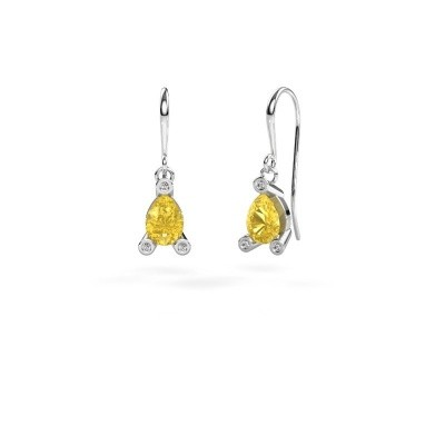 Picture of Drop earrings Bunny 1 950 platinum yellow sapphire 7x5 mm