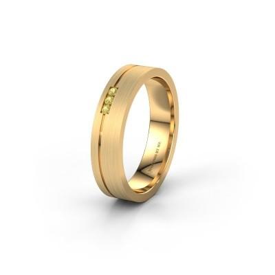 Trouwring WH0156L14X 585 goud gele saffier ±4x1.4 mm