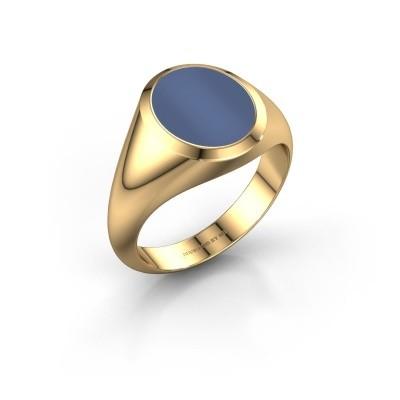 Foto van Zegelring Herman 2 F 585 goud blauw lagensteen 12x10 mm